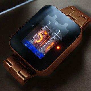 【7〜8月発送 予約受付中】ニキシー管 腕時計 nixie watch ブラスメタル