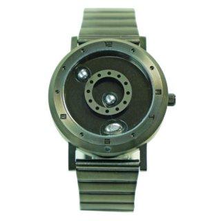 LMW 液体金属 腕時計 ガンメタルブラックシルバー メタルベルト
