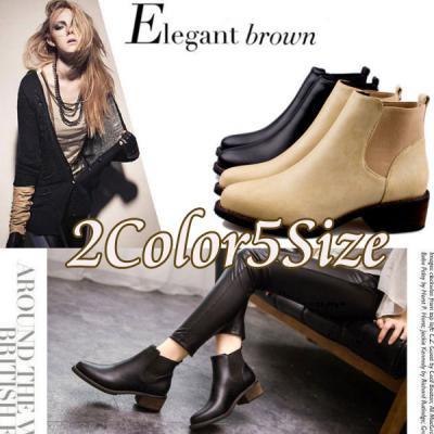 □シンプルなサイドゴアのショートブーツが流行♪サイドゴアブーツ全2色5サイズ【予約販売納期約3週間】