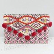 【ASOS】(New Look) Bright PomPom Clutch Bag
