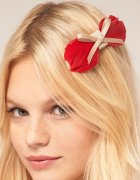 【Lipsy】 Feather Bow Hair Clip - Red