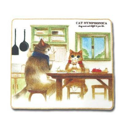 キャットシンフォニカ 今治産 スクエアタオル ポロムとジャン「朝食」 猫 ネコ ねこ