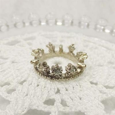 ストーン付きクラウンリング シルバー 指輪