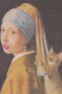 ポストカードNo.353・「青いターバンにじゃれる猫」 目羅健嗣 猫イラスト