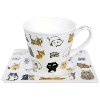 Shinzi Katoh シンジカトウ Chaton Chaton 軽量コーヒー碗皿 猫 ネコ キャット