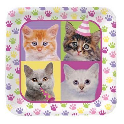 アメリカ直輸入 PURR_TY TIME! ペーパープレートL 紙皿 猫 ネコ キャット パーティーグッズ