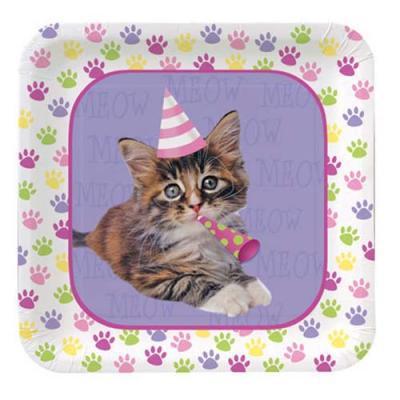アメリカ直輸入 PURR_TY TIME! ペーパープレートS 紙皿 猫 ネコ キャット パーティーグッズ