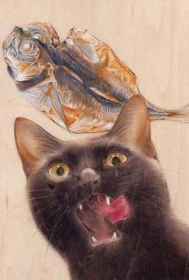 ポストカードNo.299・「世界の中心で哀を叫んだ干物」 目羅健嗣 猫イラスト