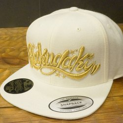 RAKUGAKI RAKUGAKI Main logo Snap Back Cap      White x Gold