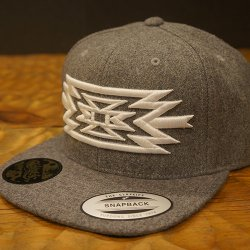 RAKUGAKI Melton Wool ORTEGA SnapBack Cap Heather Grey x White