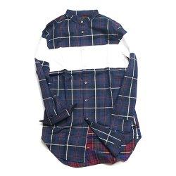 waku2/ワクワク     paint  switching zip shirts(navy base)