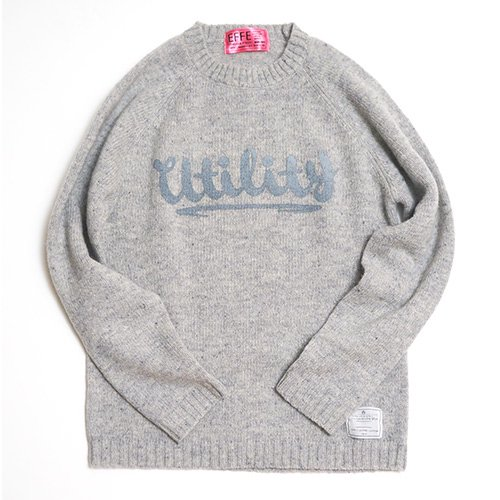 EFFECTEN/エフェクテン   `utility`logo  shetland wool sweater (GRAY)