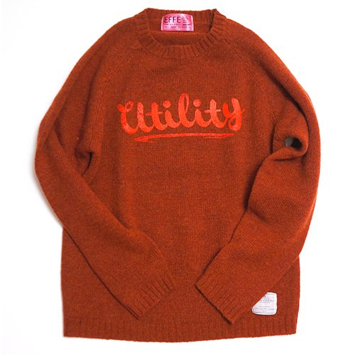 EFFECTEN/エフェクテン   `utility`logo  shetland wool sweater (RENGA)
