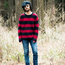 SEVESKIG/セブシグ      BRUSHED MOHAIR BORDER SWEATER