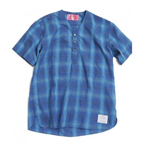 EFFECTEN/エフェクテン    Indigo check V neck shirts