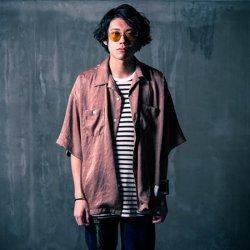 EFFECTEN/エフェクテン   Vintage satin open collar shirt