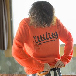 EFFECTEN/エフェクテン  `utility'logo damage knit