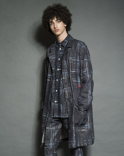 SEVESKIG/セブシグ  INDIGO HIDE CHECK SHOP COAT コート