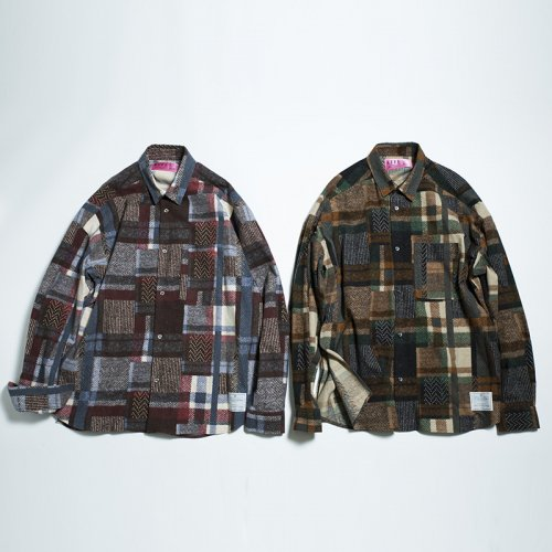 EFFECTEN(エフェクテン) flannel patchwork SIDE SLIT WIDE SILHOUETTE SHIRTS