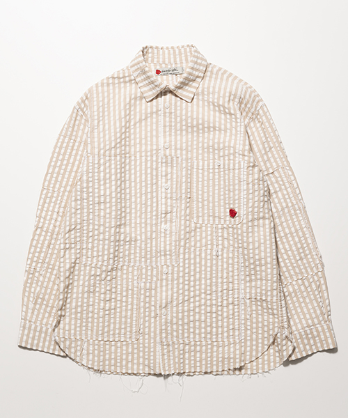 SEVESKIG/セブシグ SEERSUCKER PANEL BORO-SHIRT