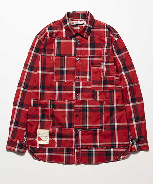 SEVESKIG/セブシグ PANEL CHECK BORO-SHIRT