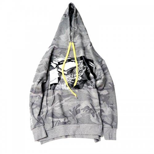 waku2/ワクワク  camouflage hoodie'SAX'