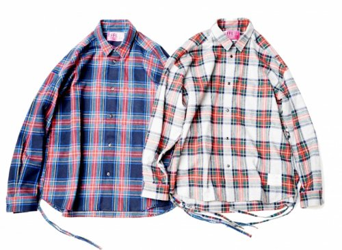 EFFECTEN(エフェクテン) Tartan check Side slit wide shirts