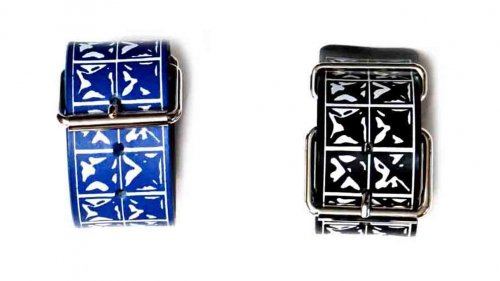 EFFECTEN (エフェクテン) studs print leather bangle(二連)