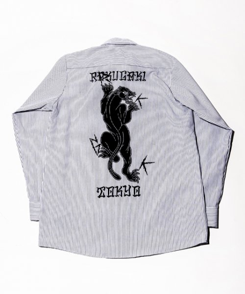 RAKUGAKI Black Panther Stripe Work Shirts