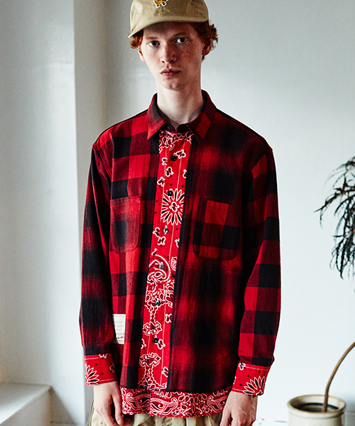 SEVESKIG/セブシグ BUFFALO CHECK BANDANA SHIRT