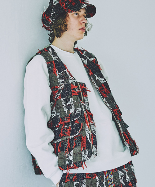 [予約商品] SEVESKIG/セブシグ DRAWING JACQUARD HUNTER VEST