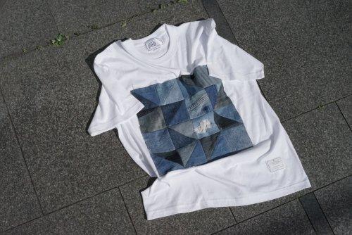 U-BY EFFECTEN(ユーバイエフェクテン) remake denim patchwork Tee