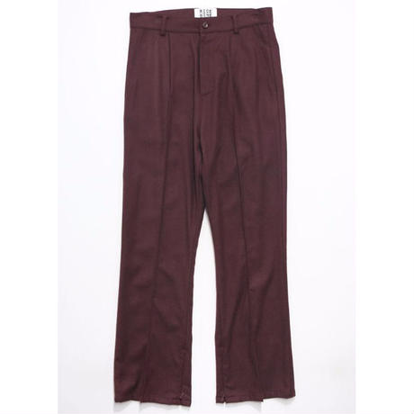 RICE NINE TEN (ライスナインテン) SOLID CREASE SIDE ZIP FLARE TROUSERS