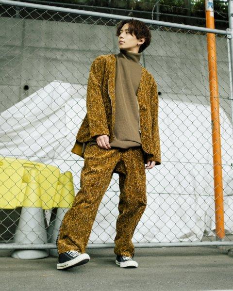 [spot item][予約商品]EFFECTEN(エフェクテン) / corduroy paisley total pattern line pants