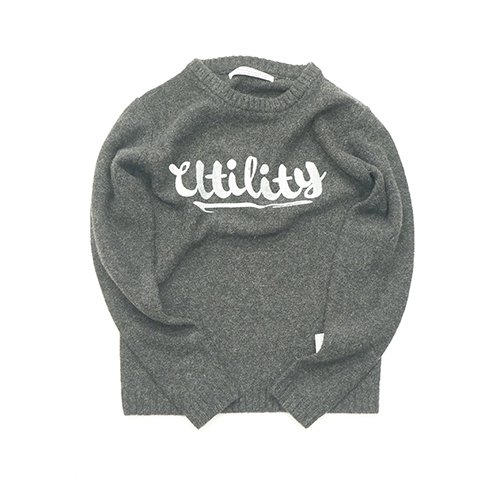 EFFECTEN/エフェクテン   `logo` shetland wool sweater        charcoal