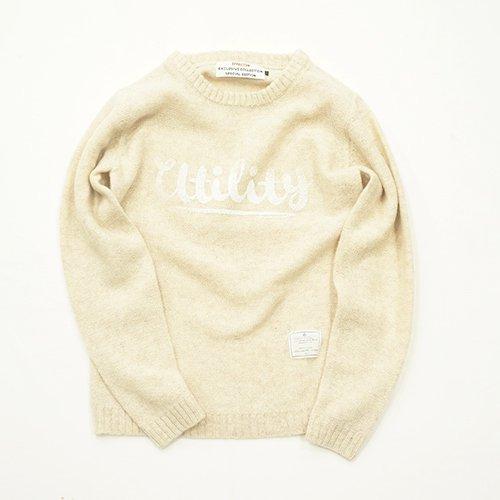 EFFECTEN/エフェクテン   `logo` shetland wool sweater       beige