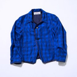 EFFECTEN/エフェクテン  blue check round jacket