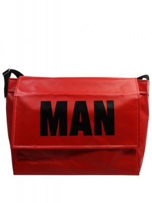 ■JUNYA WATANABE MAN FOR COMME DES GARCONS Block Logo Coated Messenger Bag - Red