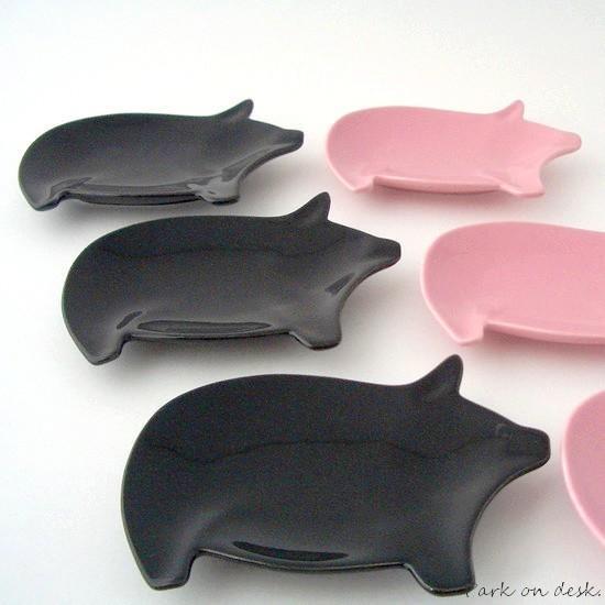 Little pig スモールトレイ Black / Pink