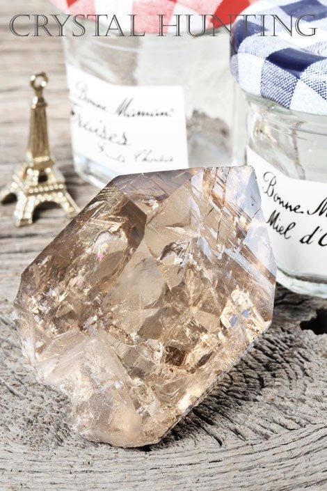 【天然石:フランス水晶】モンブラン・スモーキクォーツ(煙水晶)原石(プライザー人形付)