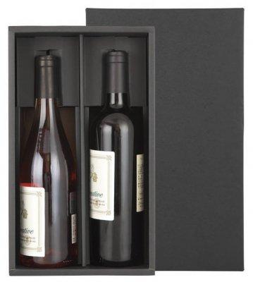 高級感のあるブラックのワイン2本用ギフトボックス(化粧箱)