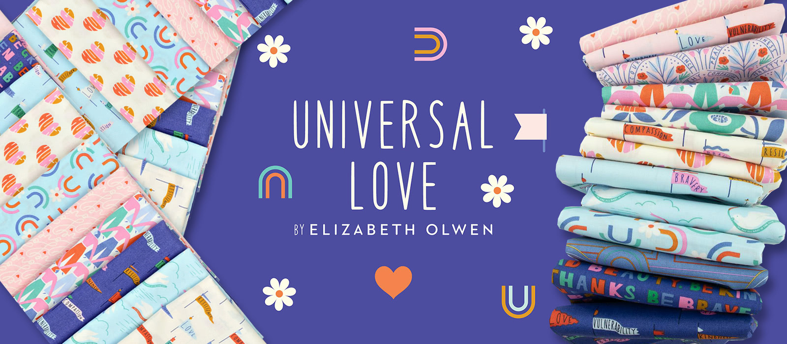 Cloud9 Fabrics Universal Universal Love Collection by Elizabeth Olwen