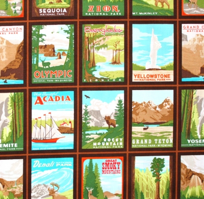 【METERS / 1m単位】Robert Kaufman Explore America Mountain Postcards Vintage