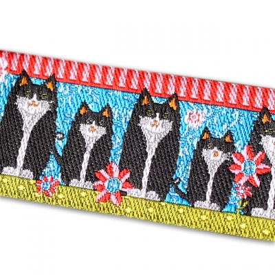 Renaissance Ribbons Black Cats on Blue