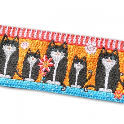 Renaissance Ribbons Black Cats on Orange