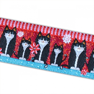 Renaissance Ribbons Black Cats on Red