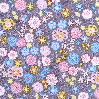 Lewis & Irene Flo's Little Flowers FLO4-3 Blooms On Grey