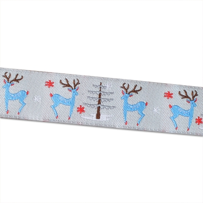 Renaissance Ribbons Deer and Tree on Grey