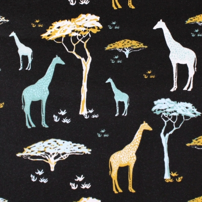 Camelot Fabrics Safari Dreams 29180105-02 Giraffe in Black