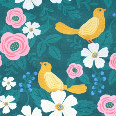 Paintbrush Studio Fabrics Picnic 120-21183 Bird Flower Green
